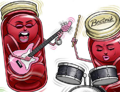 cartoon beet cans playing music